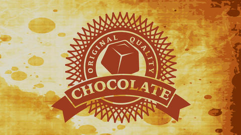 premium quality cocoa powder with papercut style emblem and piece of chocolate bar over stained Animation