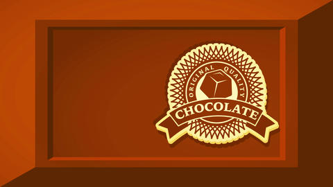 genuine quality cocoa product packet plan with geometrical round icon in tan 3d section of drink bar Videos animados