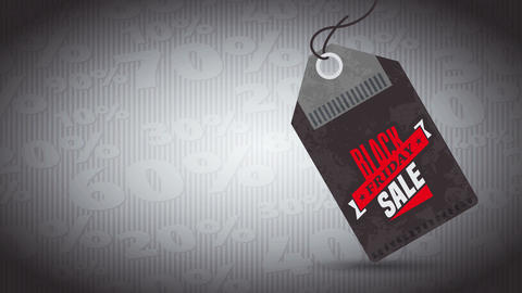 black friday selling publicity with red and dark coupon illustration hanging over pattern scene with Animation