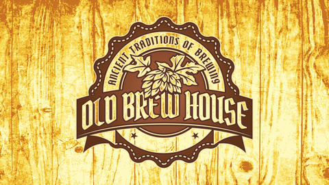 old brew house ad using ancient traditions of beer brewing with emblem carved on wood Videos animados