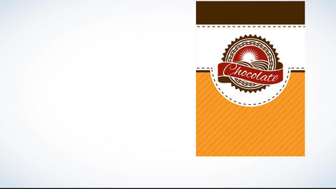 chocolate product trademark from healthful farm with classical insignia on vertical layered design Animation