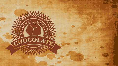 fancy quality cocoa powder with papercut fancy emblem and piece of cocoa bar over smudged paper Videos animados