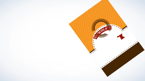 real quality chocolate bar branding concept with papercut circular emblem over upright scene with Animation