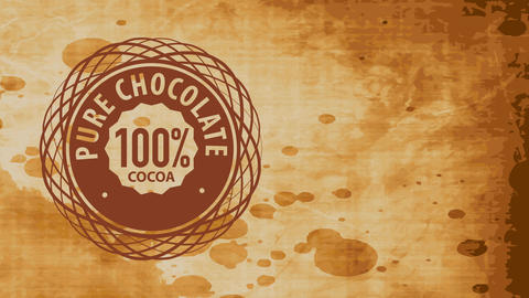 old chocolate product trademark offering 100 rate pure chocolate with fancy helix graphical over Videos animados