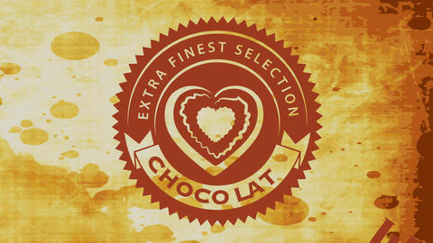 extra finest selection chocolate sign with cocoa heart graphic inside zigzag rounded icon over Videos animados