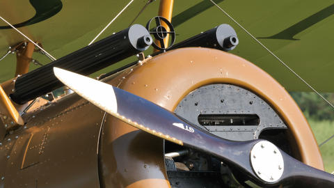 Machine Gun Closeup of Sopwith Camel British First World War biplane aircraft Live Action