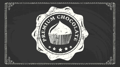 premium chocolate cup cake shop corporate identity with retro wavy rounded icon over black Animation