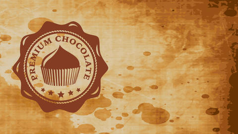 fancy brown cake packet concept with rippled oval symbol built with fluid cacao over stained Animation