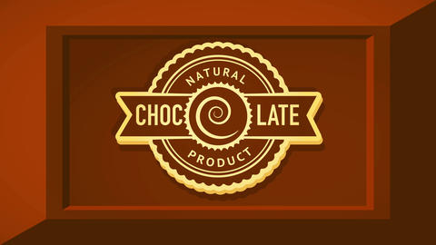 natural cocoa product ad with rounded tribal style icon over appetizing 3d chocolate bar figure Animation
