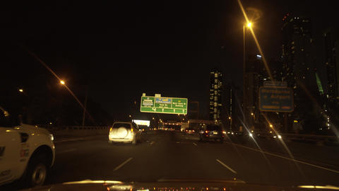 Car driving point o view of busy highway at night. street lights Live Action