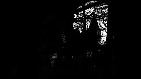 horror animation of Mysterious Medieval Castle in black style Animation