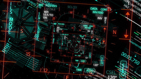 HUD looping zoom in.Flying through Futuristic technological interface Animation