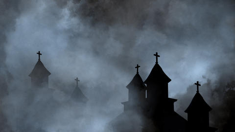 Old Churches silhouettes and Thunderstorm At Night With Clouds Animation