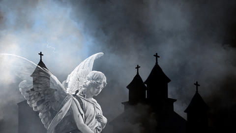 animation of woman angel flapping with wings and old Churches silhouettes and Thunderstorm in Animation