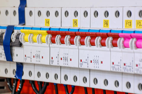 Electrical equipment. Automatic circuit breakers in a row フォト
