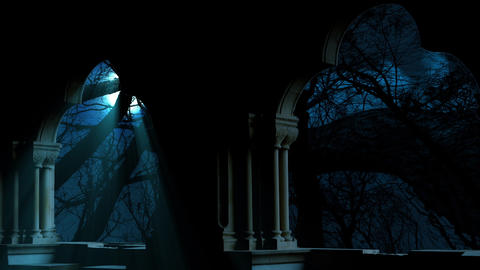 Full Moonrise Through The Clouds On Dark Blue Night Sky Animation