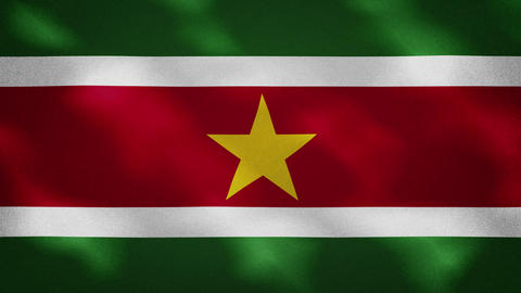 Suriname dense flag fabric wavers, background loop Animation