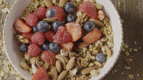 Top view of cooking healthy breakfast from falling fresh organic Live Action