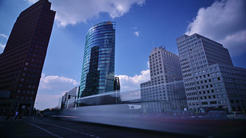 Time lapse of traffic in Potsdamer Platz, Berlin, Germany on a sunny day Footage