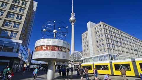 Berlin, Germany. Circa August 2016. World clock and TV Tower in Alexanderplatz Footage