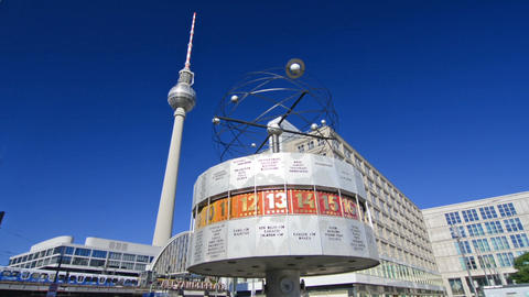 World clock and TV Tower in Alexanderplatz Footage