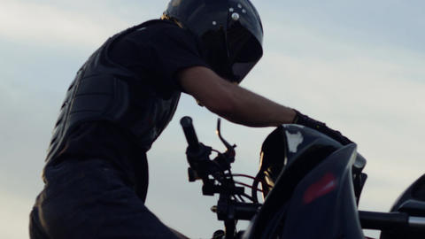 Motorbike tricks. Close up Footage