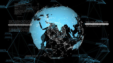 3d seamless animation of Global Business Network. Earth rotating in Space. Scien Animation