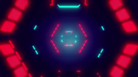 Mysterious Endless Science Fiction Tunnel With Lights Looping Background Animation
