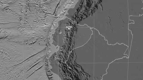 Zoom-in on Ecuador outlined. Grayscale contrasted Animation