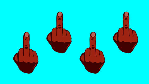 Black middle fingers up animation Animation