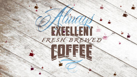forever excellent brewed coffee written with blue and black lean fancy calligraphy over wooden Animation