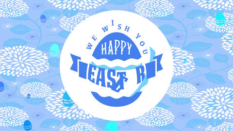 we wish yourself happy easter girly calling cardboard with blue decorated embryo over golden flowery Animation