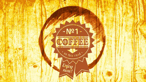 best coffee on the road publicity with number one ribbon graphic inside mug stain over wood Animation