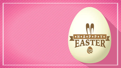 cool 3d white easter egg with golden trademark over color striped background for holiday reception Animation