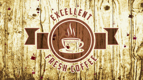 excellent fresh coffee on carved symbol with long ribbon over damaged wooden texture background for Animation