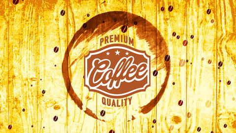 ink style coffee grunge design for fancy quality product classic badge composed with handwriting and Animation