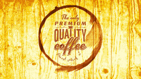 finest selection of premium quality coffee sign with cup stain graphic over wood background with Animation