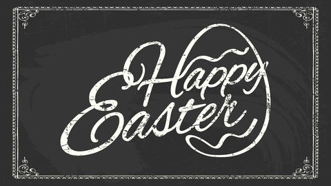 black and white happy easter sign with thin chalk lettering and decorated egg graphic on chalkboard Animation