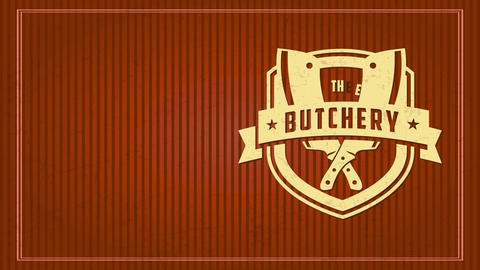 the butchery mark concept with old-fashioned sculpted symbol with cardboard texture over lined scene Animation