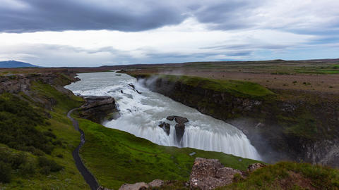 Waterfall in Iceland - Waterfall Gullfoss travel tourist attraction destination Live Action