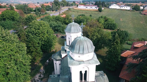 a beautiful view of the church in nature from a height GIF