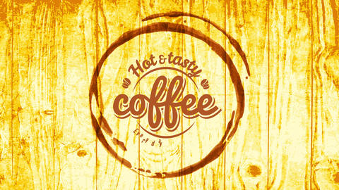hot and tasty coffee shop sign board with cup stain carved on wooden table with vintage calligraphy Animation
