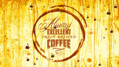 cafe shop advert with coffee spot over golden wooden texture with calligraphy for excellent fresh Animation