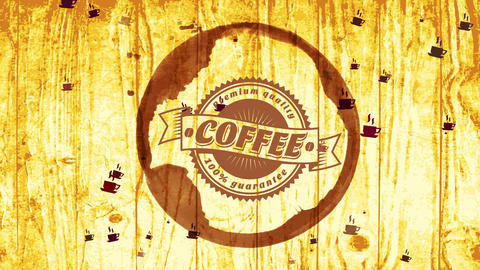 100 percentage guarantee fancy quality coffee with retro oval icon inside mug grunge over wooden Animation