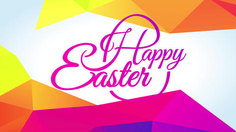optimistic easter greeting card with effervescent pink yellow color palette on elegant calligraphy Animation