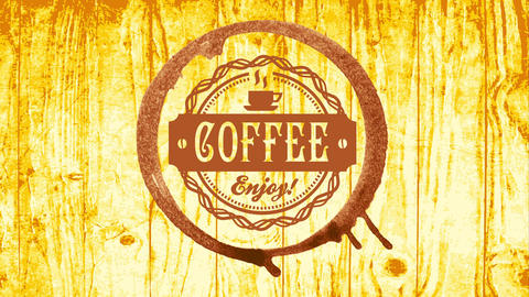 coffee shop publicity with chocolate cup stain and rounded embroidered icon on wooden texture Animation