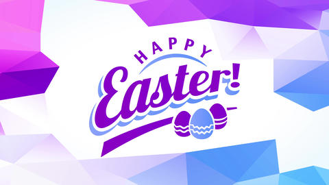 joyful smiling easter souvenir card with purple lettering decorated with small multicolored eggs Animation