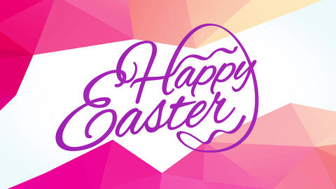 happy easter written with thin delicate typography creating egg shape with letters edge with 3d Animation