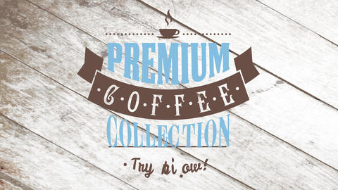 coffee collection ad asking clients to try it now with various types of vintage typography over Animation