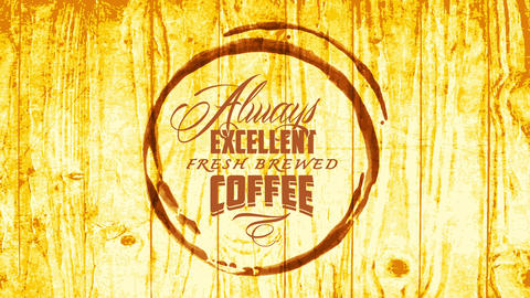 cafe shop ad with coffee stain over golden wooden texture with calligraphy for excellent fresh Animation